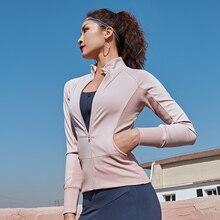 נשים ריצה מעילים ארוך שרוול עבור חדר כושר כושר ריצה סווטשירט גבירותיי יוגה ספורט רוכסן מעיל מעיל חולצות נשים של Clothi