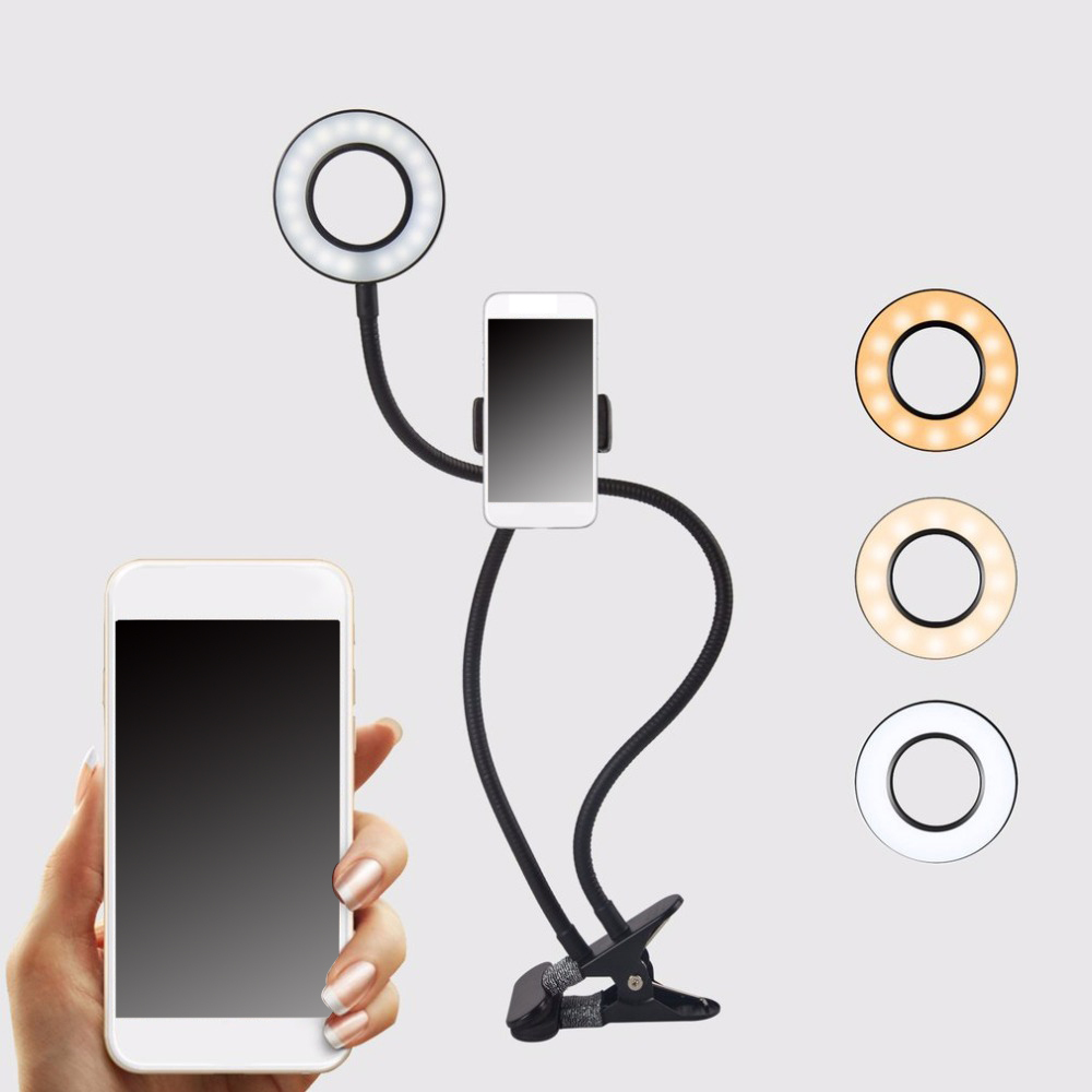 Cell Phone Holder With LED Selfie Ring Light For Live Stream Phone Clip Holder 360 Degree Adjustable Desk Lamp Makeup Light