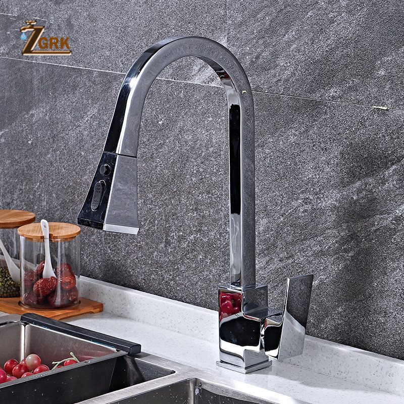 ZGRK Kitchen Faucets Silver Single Handle Pull Out Kitchen Tap Single Hole Handle Swivel 360 Degree Water Mixer Tap Mixer Tap