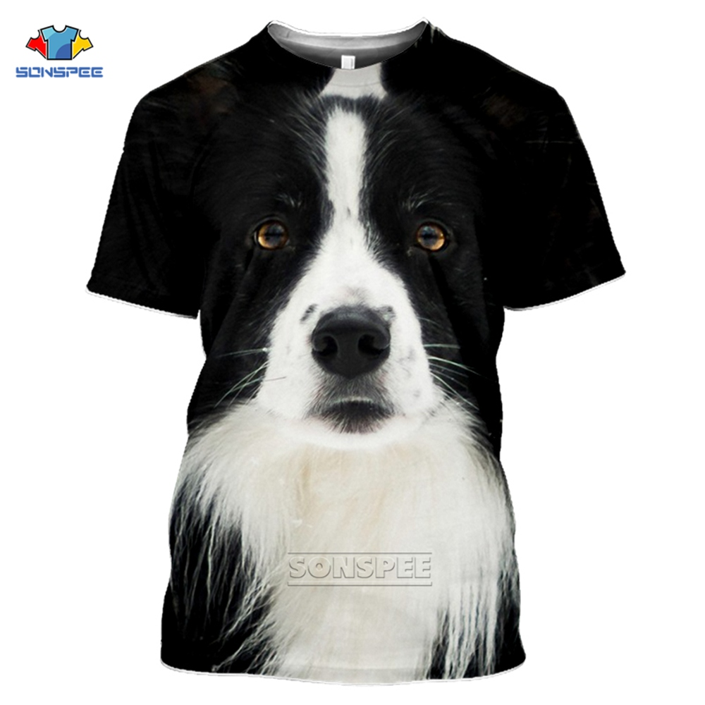 Anime 3d Print Funny T Shirt Men Women Fashion T-shirt Border Collie Dog Top Kids Harajuku Tops Tee Funny Shirts Homme Tshirt