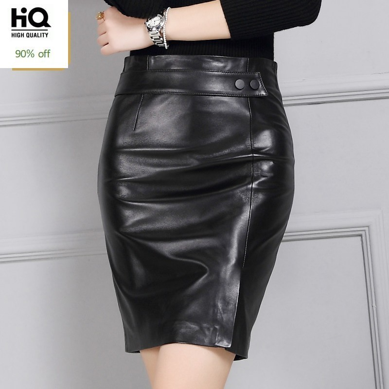 High Waist A-Line Leather Skirts Sexy Split Black Natural Leather Skirts Design Sheepskin Elegant Skinny Skirts Women Plus Size