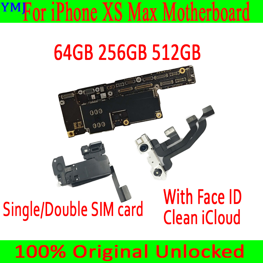 Factory Unlocked For iPhone XS Max Motherboard With Face Recognition ID Clean iCloud Original Main Logic Board 100% Tested