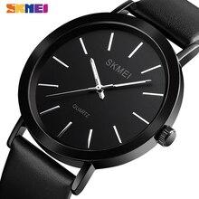 SKMEI Thin Quartz Watches Mens Luminous Pointer Simple Dial Wristwatches Hour Fo