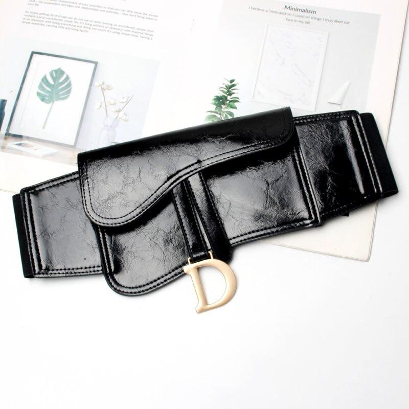 Fashion Newest Women PU Belt For Dress Leather Black Pockets Waist Belts Girdle Female Outdoor Lady Waistband Sashes