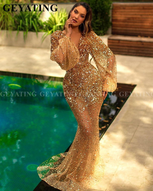 Luxury Beaded Glitter Gold Arabic Prom Dress Long Sleeves Elegant V-Neck Dubai Formal Dresses Mermaid Long Evening Party Gowns