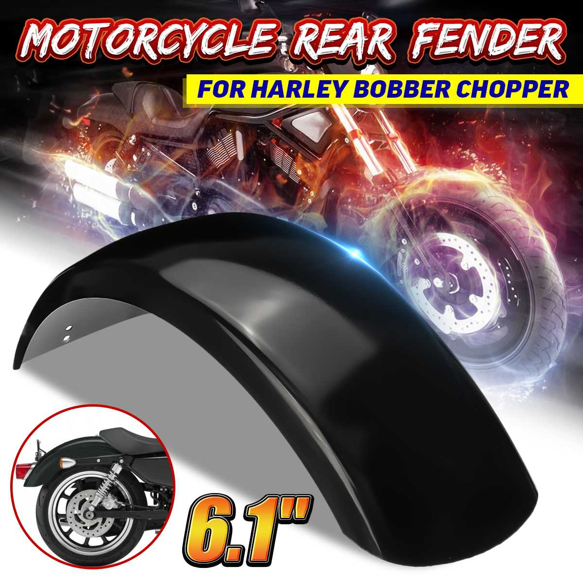 "6.1"" Motorcycle Rear Mudflaps For Fender Mudguard Stainless Steel For Harley Bobber Chopper"