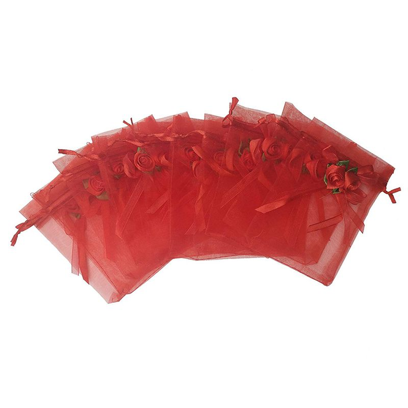 Hot Sale 20pcs Sheer Organza Favor Bags For Wedding 10x12cm Gift Bags Samples Display Drawstring Rose Pouches