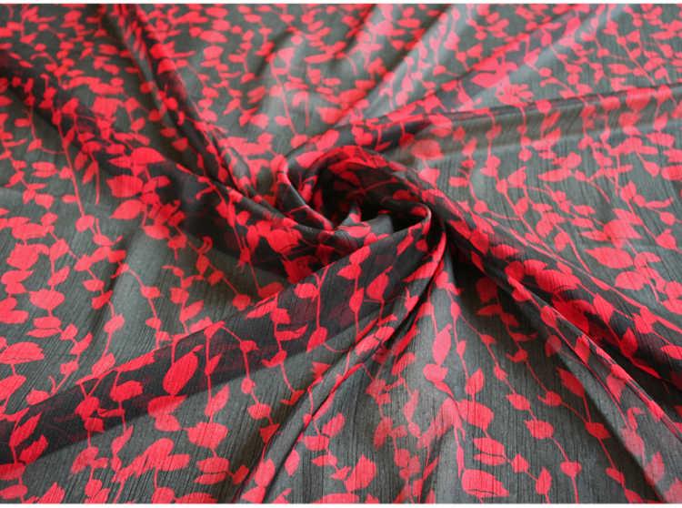 ครึ่งแฟชั่นสีดำด้านล่างสีแดงพิมพ์ดอกไม้ชีฟองผ้าสำหรับเสื้อชุดผ้าพันคอวัสดุ T893