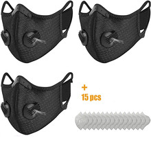 3pcs Respirator Faceshield Face Cover With 15pcs Filter Unisex Dust Outdoors Sports Face Maskswashable And Reusable Mascarillas cheap Adult COTTON Casual Adjustable facemasks reuseable One Size Solid maske mondmasker disposable facemask