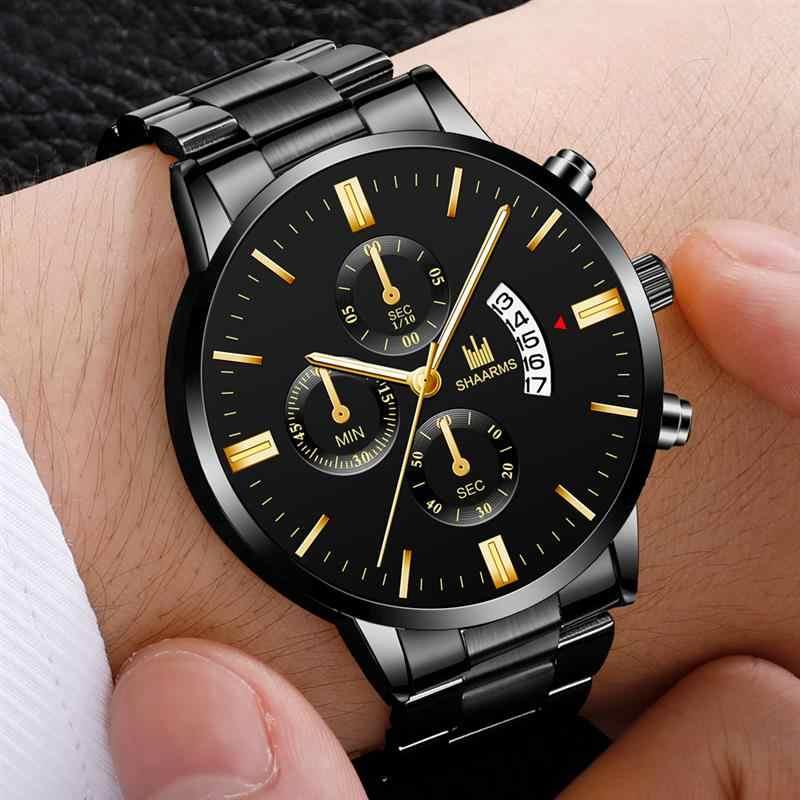 2019 新 SHAARMS ファッション軍事ステンレス鋼ベルト日付スポーツクォーツ腕時計 relojes hombre 腕時計メンズラグジュアリーウォッチホット