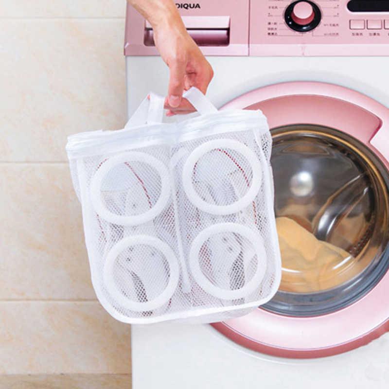 Durável de alta qualidade poliéster sapatos de lavagem malha saco de ar líquido bolsa máquina de lavar roupa mais limpa saco caso sapato pendurado saco