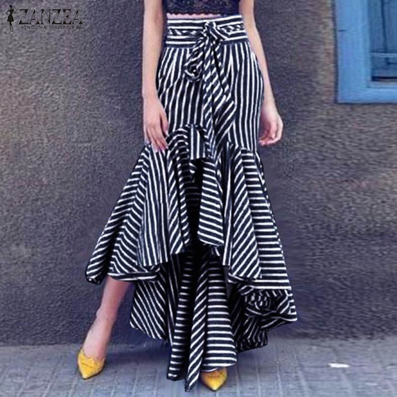 ZANZEA 2020 Women's Printed Vestidos Elegant Striped Ruffle Skirts Summer Irregular Skirts Female Faldas Saia Oversized