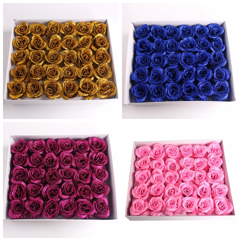 60Pcs/2Box New 2019 Crystal Gold Powder Soap Roses Diy Soap Flowers For Home Decoration Wedding Party Gift Festival