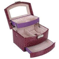 Automatic Leather Jewelry Box Three layer Storage Box For Women Earring Ring Cosmetic Organizer Casket For Decorations(purple)
