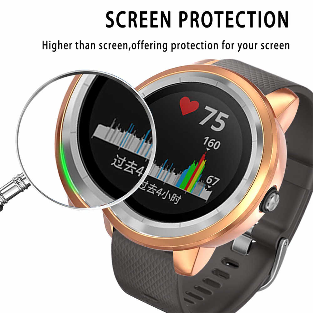 Luxury Electroplated Protective Cover Silicone Shell Screen Film TPU Watch Case For Garmin vivoactive 3 Music Anti Scratch Shock