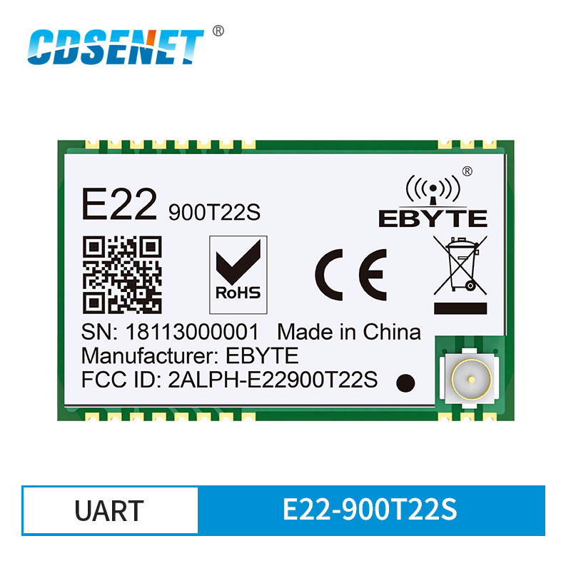 SX1262 UART 868MHz 915MHz E22-900T22S LoRa Net Working RSSI Wireless Transceiver 22dBm SMD IPEX Stamp Hole TCXO RF Module
