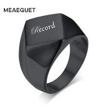 Anillo de acero inoxidable personalizado para hombre, joyería cuadrada con nombre personalizado, Color negro