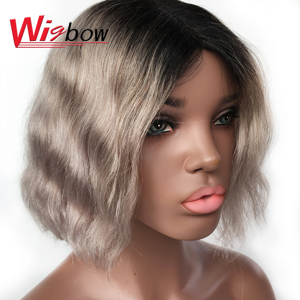 Short Natural Wave Grey Wigs Bralizian Hair 100% Human Remy Hair T1B/Grey Lace Part Pre-Plucked Wigs Natural Dream Curl Wig