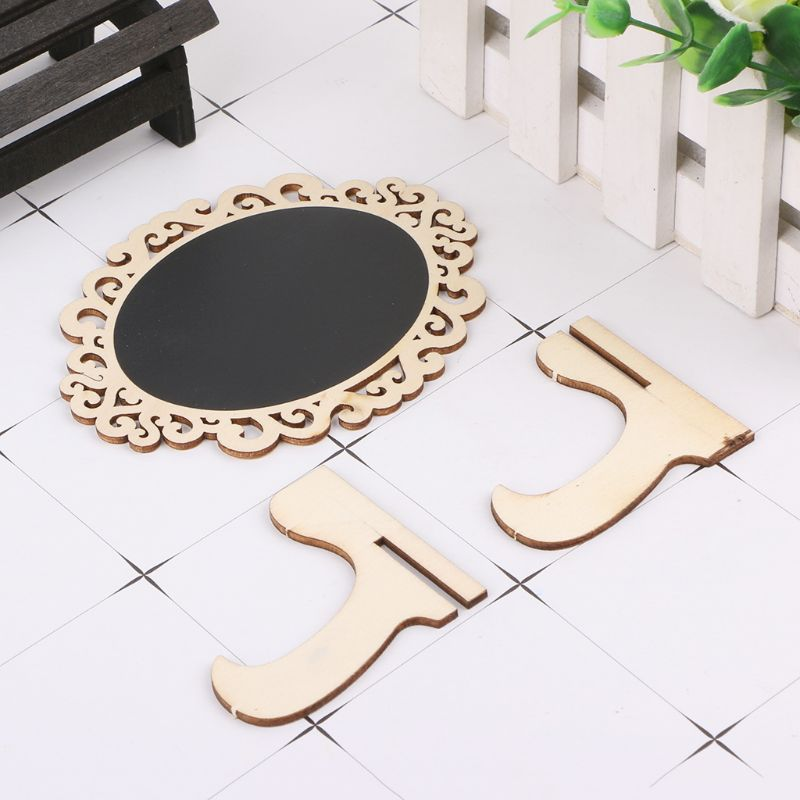 10pcs Oval Shape Hollow Mini Wood Chalkboard Blackboard Tabletop Message Board For Wedding Party Decor LX9A