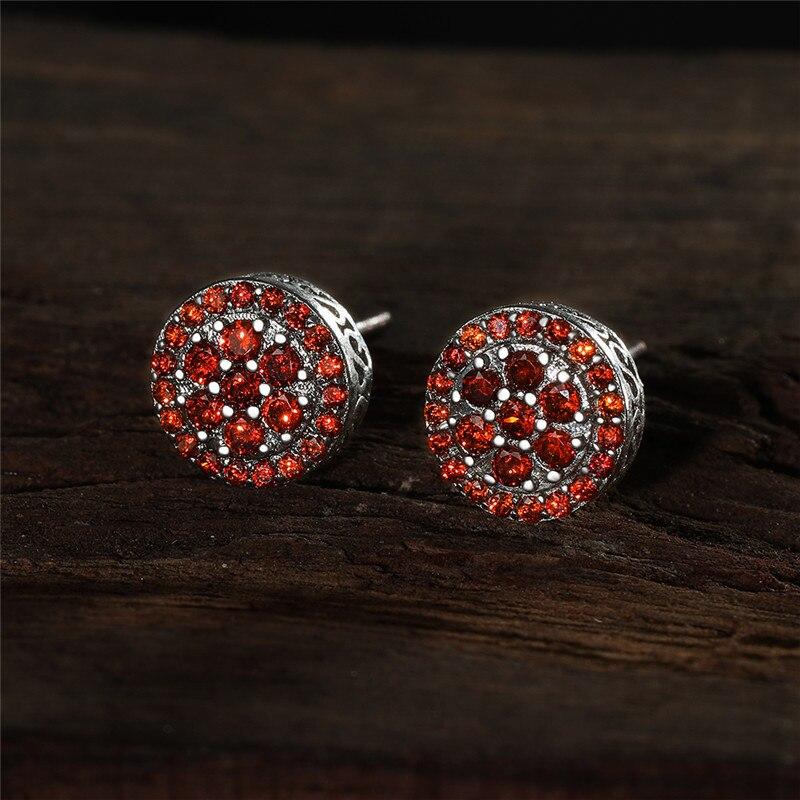 Purple Crystal Round Zircon Multilayer Screw Back Earrings For Women Dainty Jewelry Vintage Fashion Multicolor CZ Stone Earrings