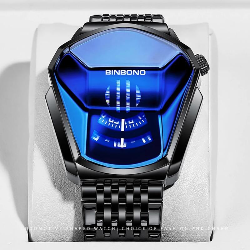 BINBOND 2020 new Gold wrist watch For Men male black technology waterproof student locomotive trend men's casual quartz watch 6