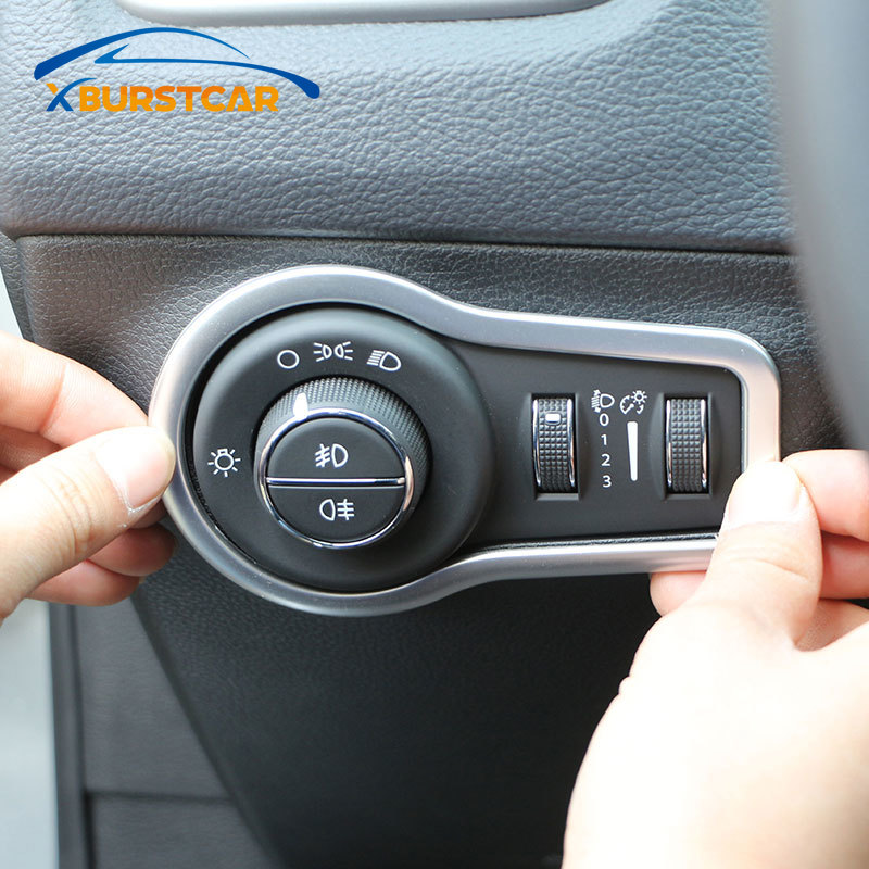 Xburstcar Car Interior Headlight Lamp Switch Button Decoration Cover Trim Stickers for <font><b>Jeep</b></font> <font><b>Compass</b></font> 2017 2018 <font><b>2019</b></font> <font><b>Accessories</b></font> image