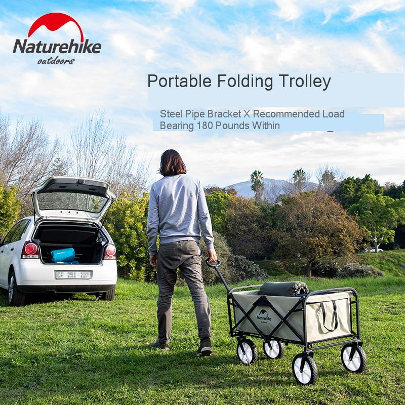 Naturehike Folding Camping Push Cart Portable Outdoor Camping Picnic Trolley Car Adjustable Trolley Pull-Cart