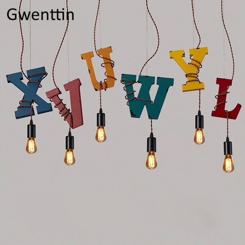 Vintage bois lettre pendentif lumières en bois cuisine suspendus luminaires salle à manger industrielle lampe Bar salon décoration