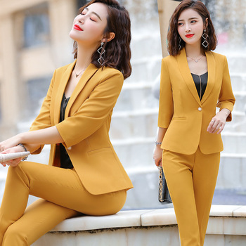 IZICFLY new style yellow blazer set summer business office pant and Business OL 2 piece outfits for women work wear