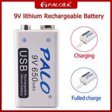 Литий ионная аккумуляторная батарея palo 650 мАч 9 В 6f22 литиевые