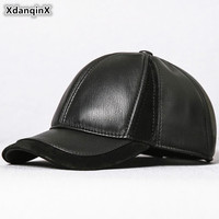 XdanqinX Fashion Genuine Leather Hat Men's Sheepskin Baseball Caps Adjustable Head Size Personality Trend Snapback Leather Cap