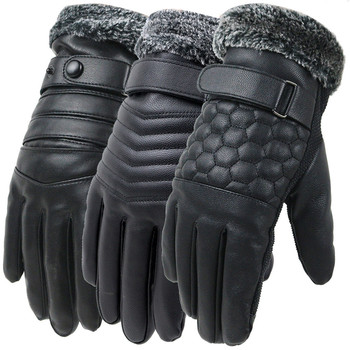 Men Winter Tactical Gloves Leather Touch Screen Plus Velvet Warm Mittens For Cycling Driving Windproof Gloves image