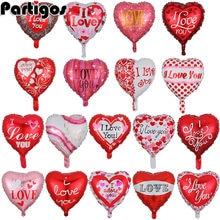 Globos de amor con corazón de 18 pulgadas, 10 Uds., globo inflable de aluminio para boda, Día de San Valentín, decoraciones con helio, I love You, Globos