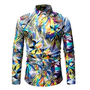 2019 New Fashion Spring Autumn Mens Long Sleeve Beach Hawaiian Shirts Casual Floral Shirts Regular Plus Size 3XL Mens clothing