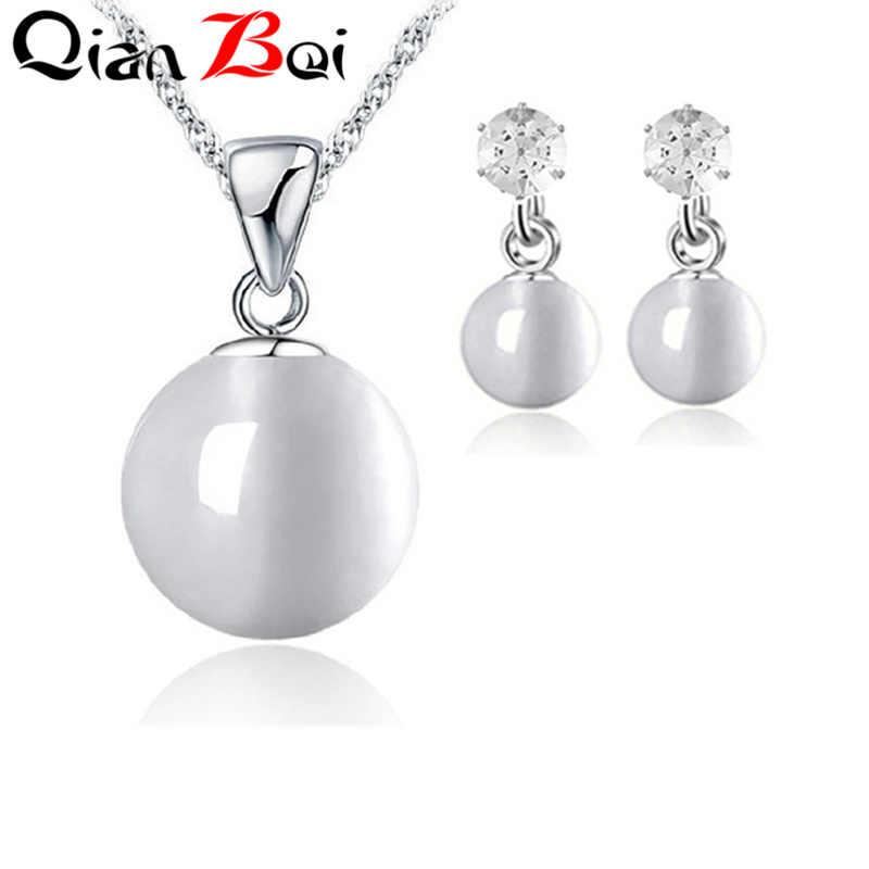 QianBei חדש הגעה סימולציה פרל כלה תכשיטי סטי גביש אופנה חתונה תכשיטי שרשרת עגילי סטים לנשים
