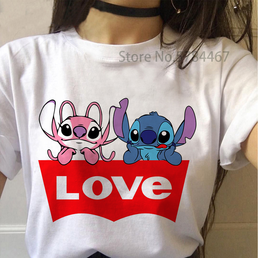 New Cute Lilo Stitch LOVE T-shirt Women Harajuku Kawaii Lovely Cartoon Letter Printed Colorful Top Tee Casual Korean Tops Female