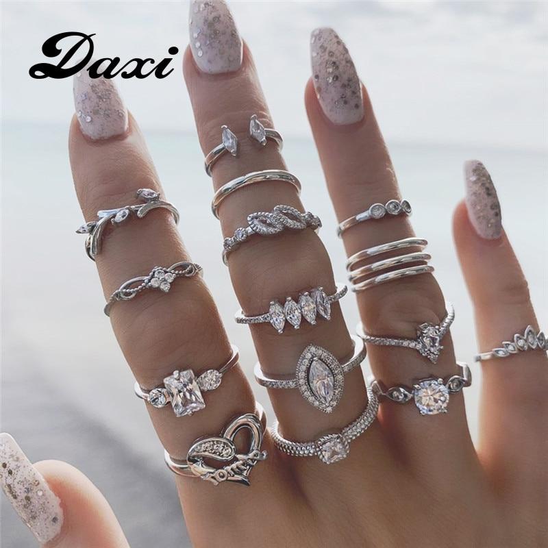 Набор Колец DAXI для женщин, 15 шт./компл., с кристаллами в форме сердца, элегантные кольца на палец серебристого цвета, мода 2020, эффектные женски...