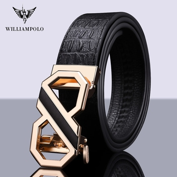 Williampolo For Men Automatic Male Belts Crocodile Pattern Leather Belt Men dropshipping  Belts Belts Luxury brand 19647-48P