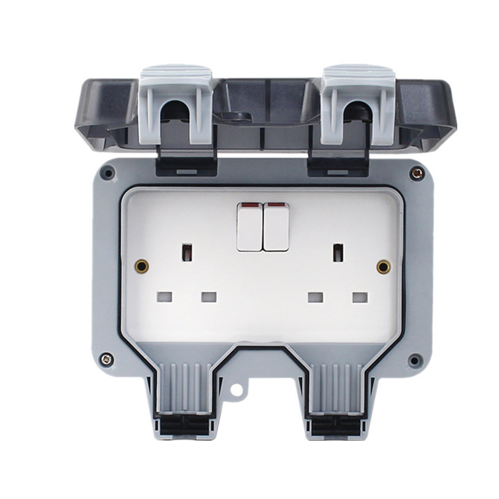 IP66 Switched Socket Covers,13A Outdoor Wall Weatherproof Plug Socket Box Double Socket Outdoor Sockets Waterproof Double Socket Wall Electrical Outlets