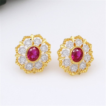 CMajor S925 Solid Sterling Silver Delicate Vintage Temperament Elegant Lovely Flower Shape Two Tone Stud Earrings for Women