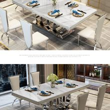 Chairs Dining-Table Stainless-Steel Marble Nordic Mesa Rectangle Sillas-De-Comedor Jantar