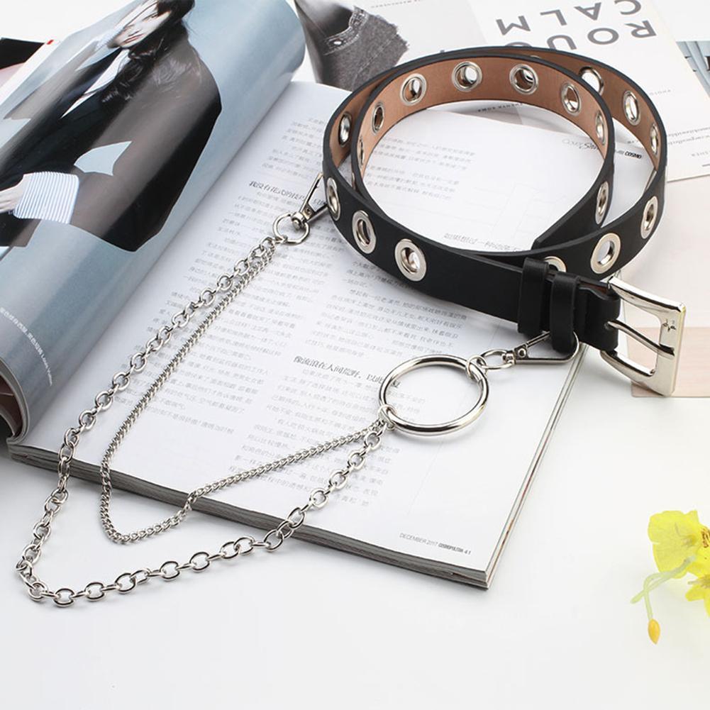 2 слоя Панк Регулируемый крюк брюки из искусственной кожи пояс цепь женский ремень серебряная цепочка Модный Ювелирный пояс черный