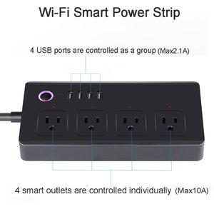 Image 3 - WiFi כוח רצועת מגן חכם 4 דרך תקע לשקע 4 USB יציאות קול אלחוטי שלט רחוק על ידי Alexa הד נקודה Google בית