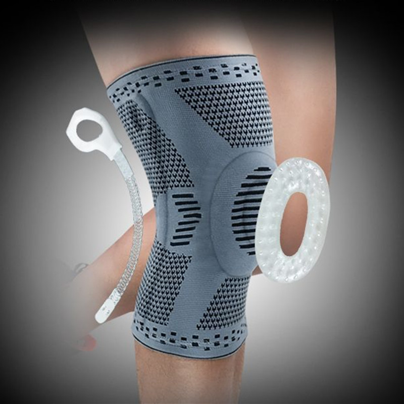 ZYSK 1pcs Patella Knee Protector Brace Silicone Safety Knee Pad Sport Basketball Knitted Compression Elastic Knee Sleeve Support