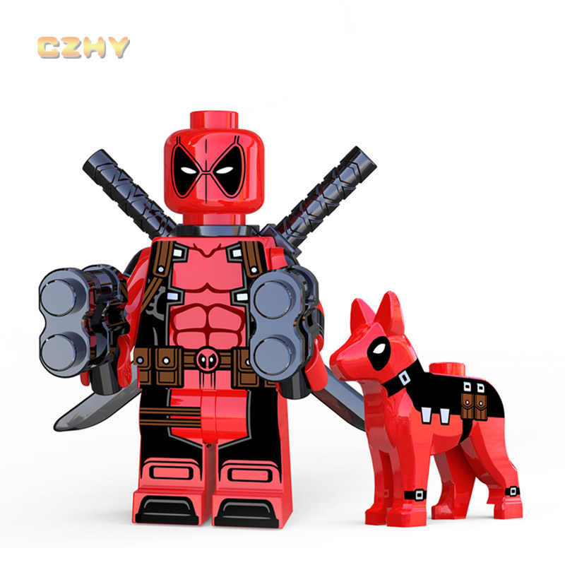 Red Color Deadpool with Dog LEGOEINGLYS MINIFIGURED DC Figures Building Blocks Super Heroes Bricks Models Kids Gifts XP226