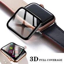 Protetor de tela cheia impermeável 3d para apple watch 6 se 5 4 40mm 44mm não temperado vidro macio para iwatch série 3 2 1 38mm 42mm
