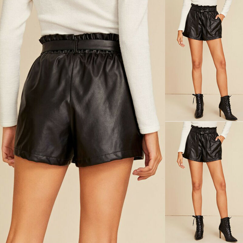 Brand New Women Sexy Wet Look Shorts Ladies Faux Leather Party Clubwear High Waist Pocket Bandage Loose Shorts With Belt