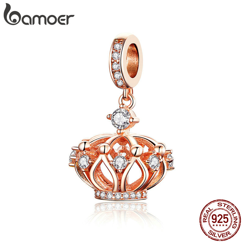 BAMOER New Collection 925 Sterling Silver Princess Crown Pendant Rose Gold Color Charms Fit Women Necklaces Jewelry SCC1121