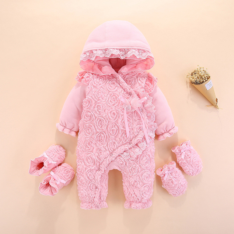 Baby Winter Overalls For Baby Girls Jumpsuit Newborn Baby Girl Clothes Rompers 3Pcs Baby Gloves Shoes My first christmas Clothes