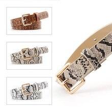 105*2.3Cm New Women Snakeskin Pin Buckle Chain Fine Belt For Dress Vintage Female White Snake Waist Femme Ceinture